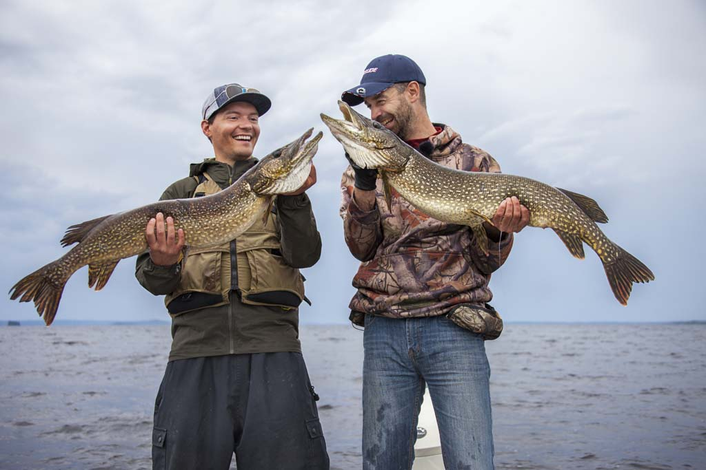 Two Holding Northern Pike